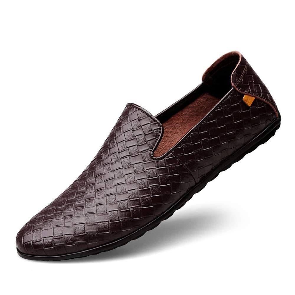 Qiusa Herren Slip auf weiche echtem Leder Deck Schuhe weiche auf Sohle Rutschfeste langlebige Fahr Schuhe (Farbe : Braun, Größe : EU 43) Braun 8ccb72