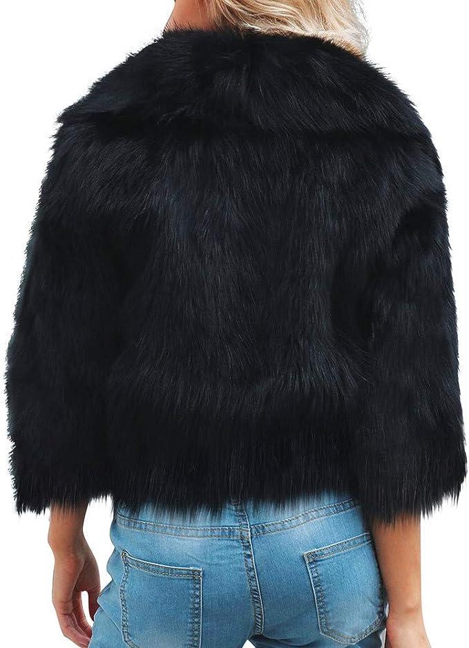 DEELIN Moda De Invierno De La Mujer Caliente De Piel SintéTica De Felpa Chaqueta Chaqueta Corta De La Mujer Negro