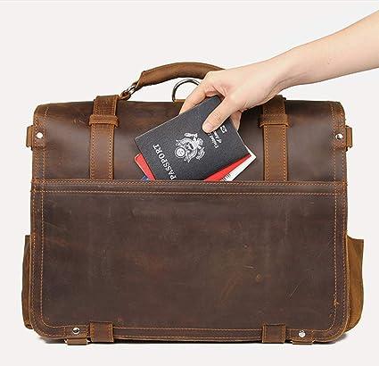 YANJINGHONG Sac Messager pour Hommes 17.3 Pouces Toile Vintage en Cuir Sacoche Ordinateur Portable Sacs Bookbag Sac de Travail pour Sac de Bagages pour Hommes