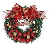 Garland Christmas Decor, Inkach Merry Christmas Hanging Wreath Ball Ornament Door Wall Garlands (Red)