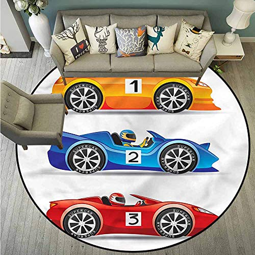 Non-Slip Round Rugs,Boys Room,Auto Racing Vehicles,for Outdoor and Indoor,4'3