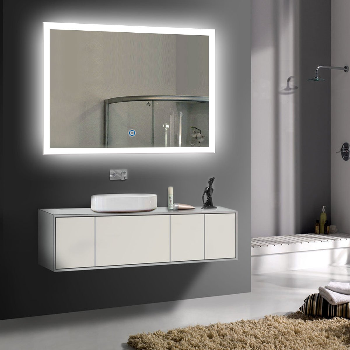 DECORAPORT 36 Inch * 28 Inch Horizontal LED Wall Mounted Lighted Vanity Bathroom Silvered Mirror with Touch Button (A-N031-I)