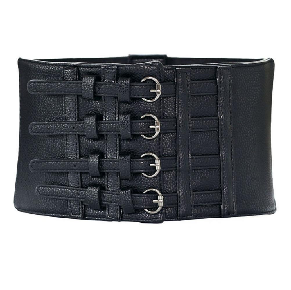 YYHSO Mujer Retro Súper ancho Elasticidad Cinturón Hebilla de varias filas por Accesorios de Falda
