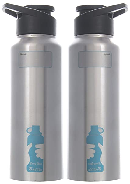 fcdaebd699 Carry Your Smart Stainless Steel Sipper Water Bottle, 2-Piece, 750 ml Each,  Silver: Amazon.in: Home & Kitchen