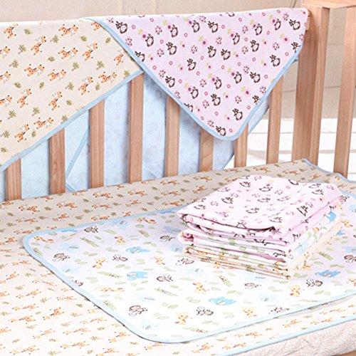 Crib Print Top Sheet - Elf Star Cotton Bamboo Fiber Breathable Waterproof Underpads Mattress Pad Sheet Protector, Elephant and Giraffe Print, 1 Pad 27