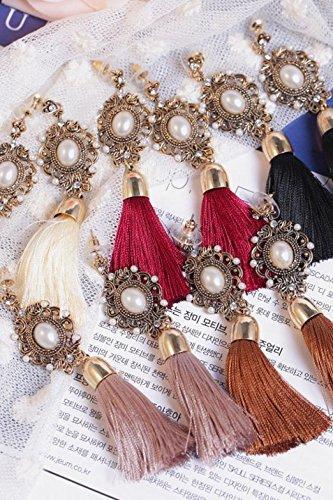 Generic _ Tassel earrings court temperament Western style fashion white ethnic earrings ear jewelry accessories women girls lady line