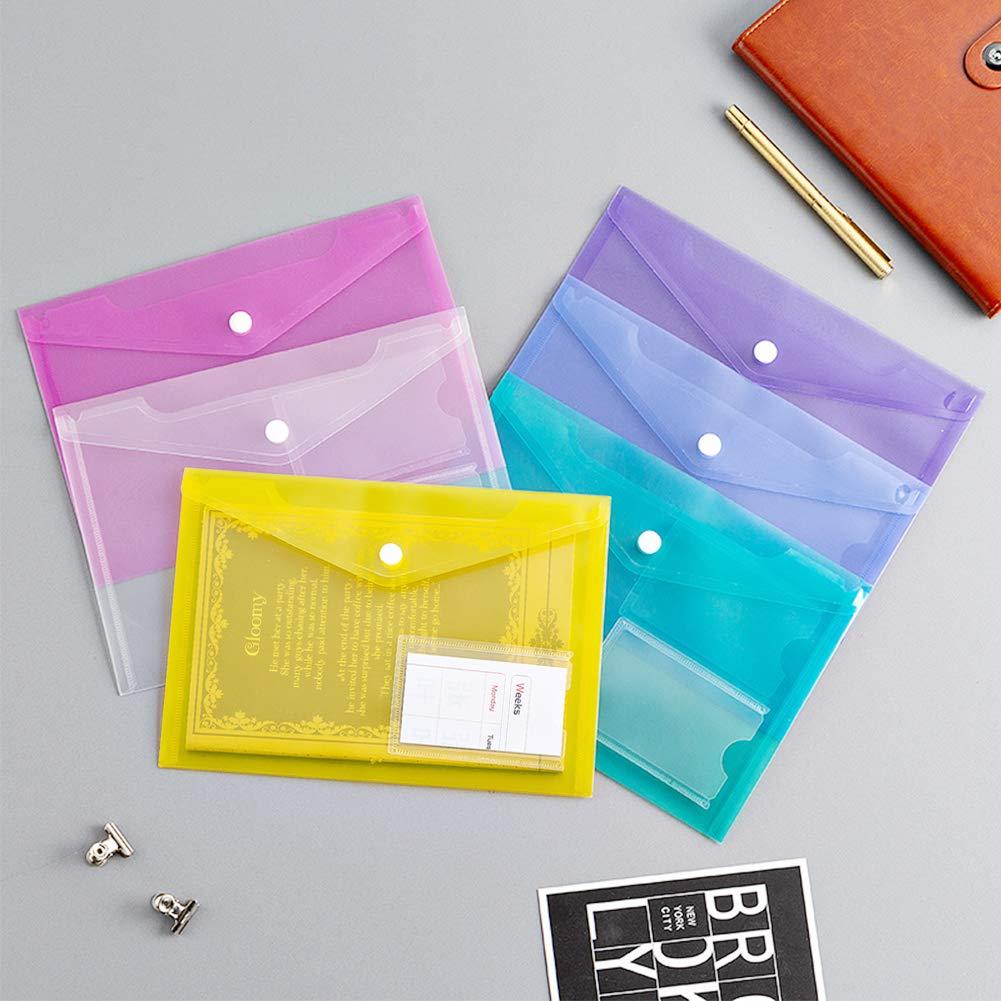 Mondeer 36 unids A5 Carpeta para Documentos con presi/ón bot/ón pl/ástico transparente multicolor Oficina Escuela Proyecto viaje Archivos sobres almacenamiento portadocumentos