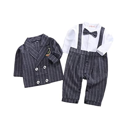 f9714bea1aa98 Ymgot ベビー フォーマル スーツ ロンパース ストタイプ柄 2点セット 赤ちゃん カバーオール 七五三 初節句 入園