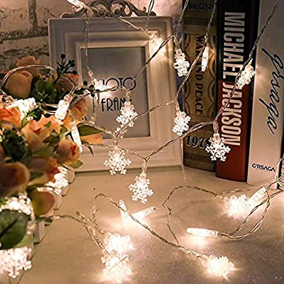 40 LED 20ft Snowflake Flowers Solar String Fairy Lights Waterproof Outdoor Home Garden Decor Christmas Holiday Decoration Battery Powered