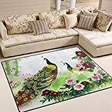 Naanle Animal Area Rug 5'x7', Peacocks on a Cherry Tree Polyester Area Rug Mat for Living Dining Dorm Room Bedroom Home Decorative