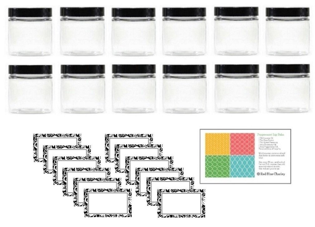 Clear 4 oz Plastic Jars with Black Lids PET Round Refillable Containers 12 pk Floral Labels