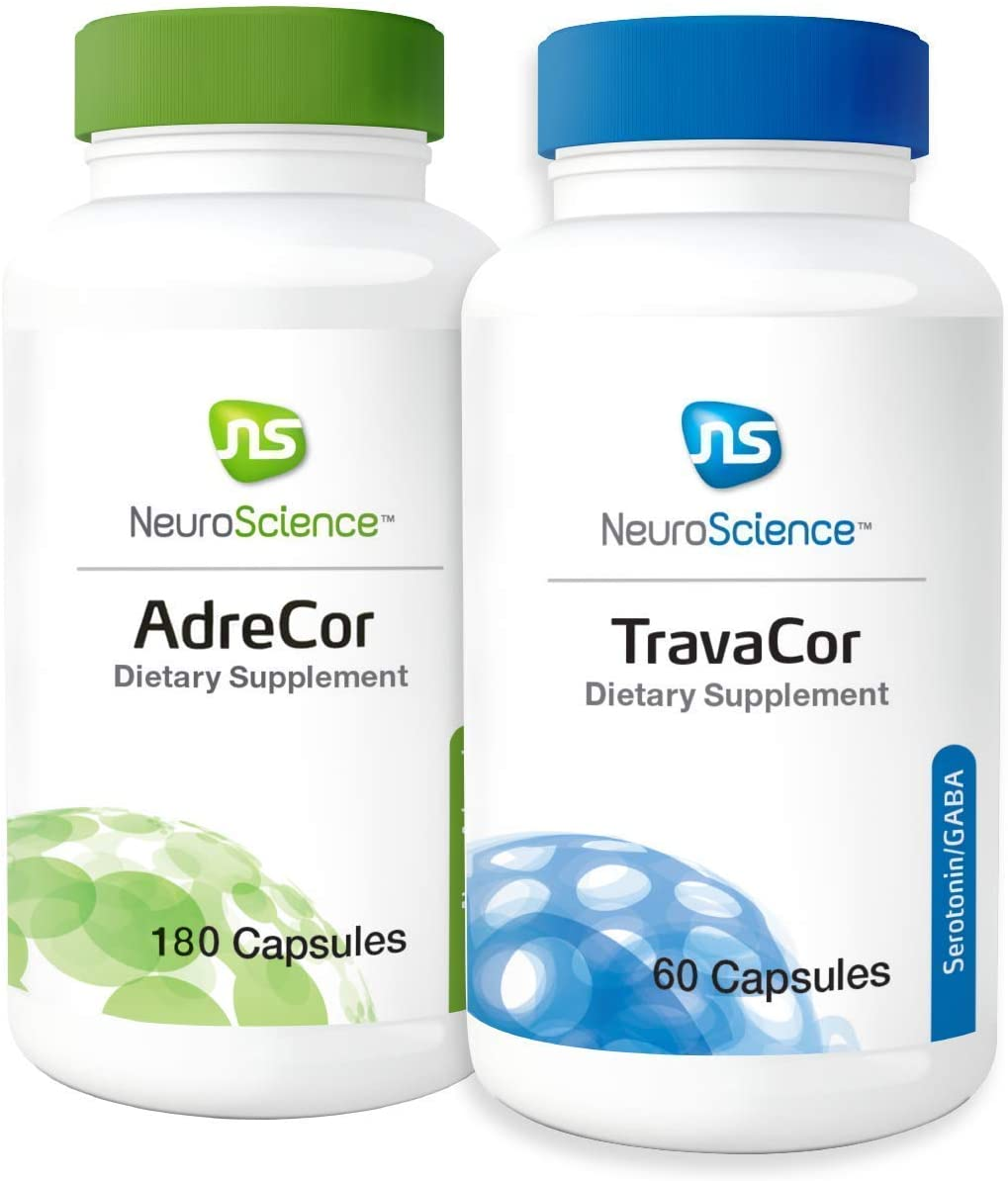 NeuroScience Mood + Adrenal Support Set - AdreCor + TravaCor (2 Products, 180 Capsules, 60 Capsules)