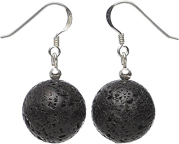 Ohrringe Ohrhänger aus echter Lava & 925 Silber schwarz Lavaohrringe Ohrschmuck für Damen