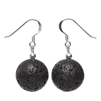 Earrings eardrops made of real lava with pores & pearls black white ladies wxR6zH