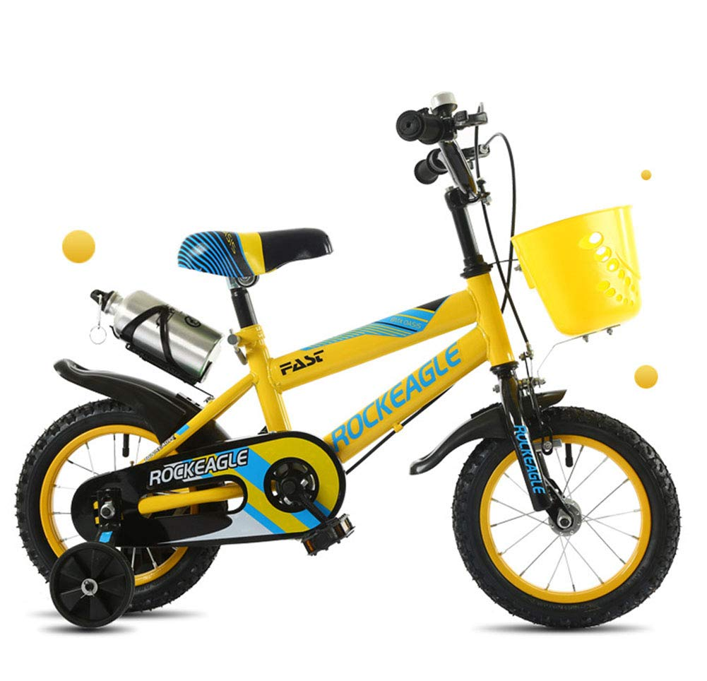 Yellow Bike Boys Girls Mountain Bicycle Adjustable Height Double Brake Kids Safety Damping 16 Inches 2-10 Years Old