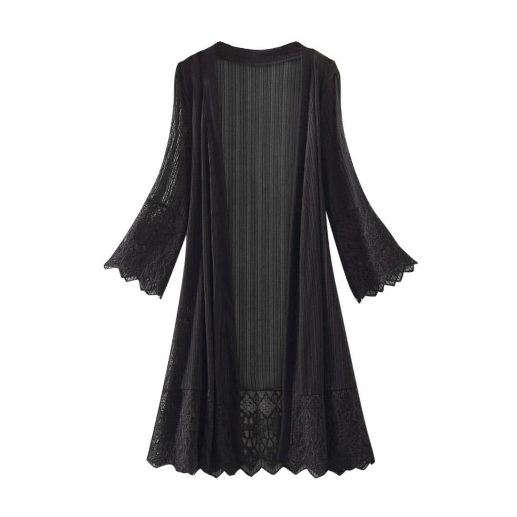 ITISME Damen Strickjacke Mode Lässig Frauen Langarm Spitzen Top Bluse T-Shirt Kittel Damen Kimono Cardigan Boho Chiffon Sommerkleid Beach