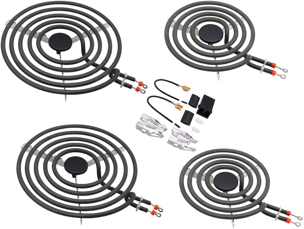 "Electric Range Burner Element Unit Set-2 x MP21YA 8"" and 2 x MP15YA 6"" Compatible with Whirlpool,KitchenAid,Maytag Electric Range Stove,with 1 x (330031) Receptacle kits"