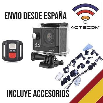actecom CÁMARA Deportiva DE ACCIÓN 4K HD Action Camara Negra ...