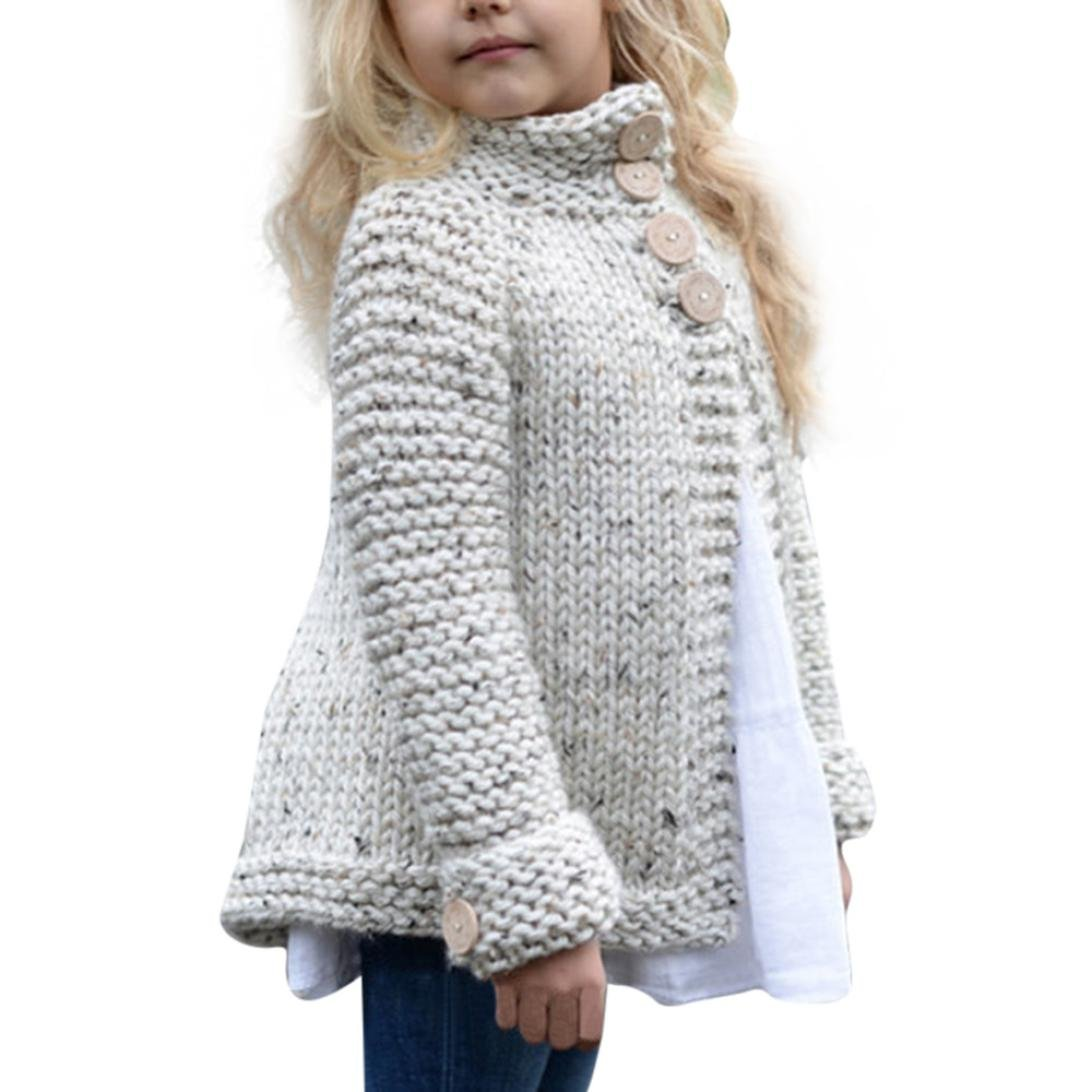 Suma-ma Toddler Kids Baby Girls Outfit Clothes Button Knitted Sweater Cardigan Coat Tops (120/5Year, Beige)