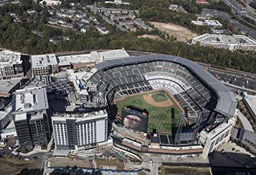 Photo | Aerial photograph of the Atlanta, Georgia, area taken in October 2017, with a focus on SunTrust Park northwest of downtown Atlanta in the Cumberland neighborhood of Cobb County (Downtown Parka)