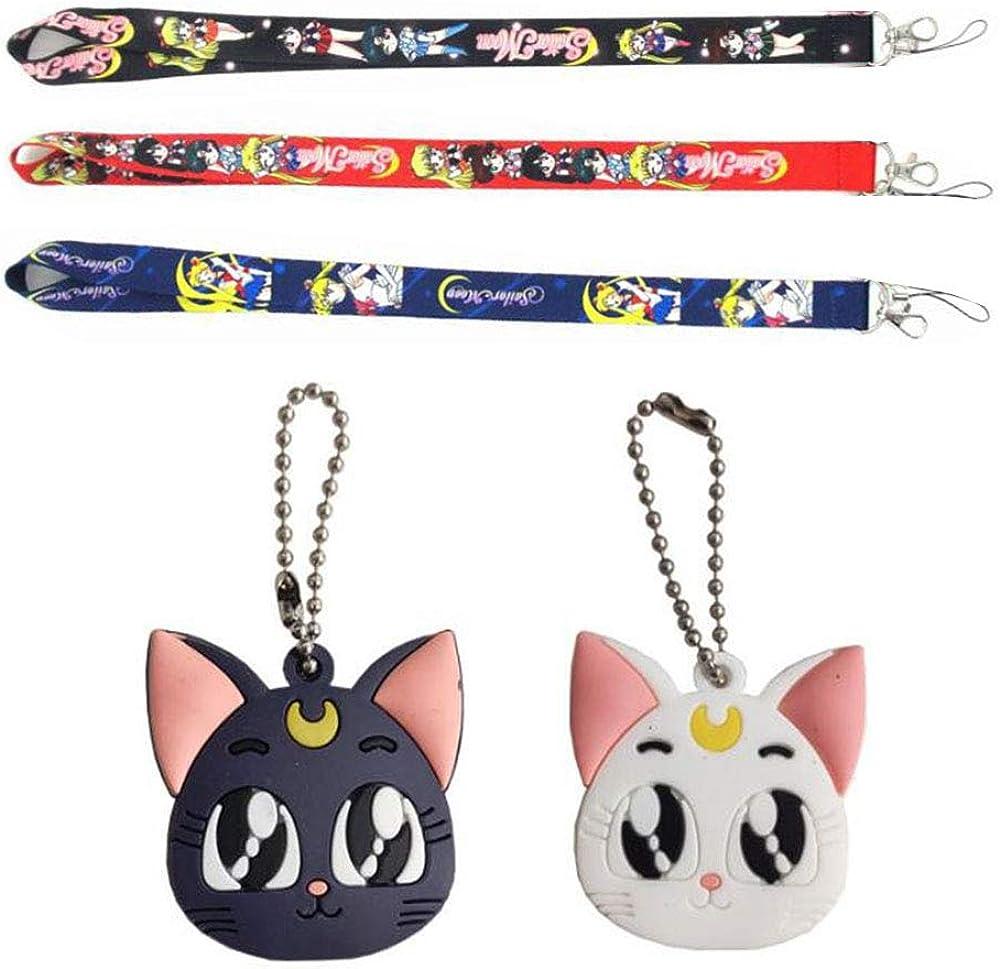 5Pcs Sailor Moon Luna Cardcaptor Sakura Cat Keychain Cover Cap Cosplay Prop Pendant Keyring Key Chain Anime Landyard
