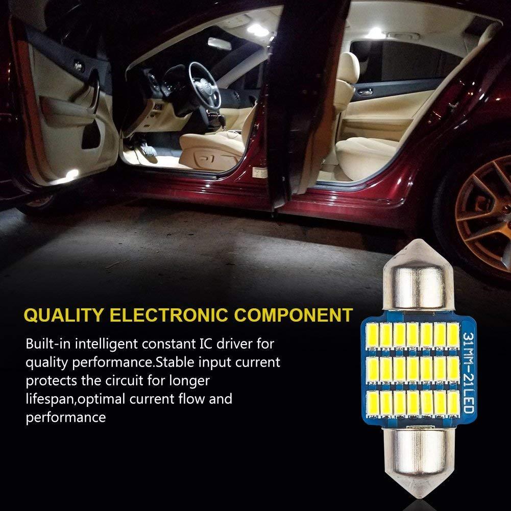 Safego 4x C5W LED 31mm 3175 6428 3022 21-3014SMD D/ôme voiture Int/érieur LED Lumi/ère Xenon Blanc DE3021 DE3022 12V 6000K
