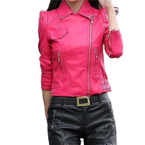 Honghu Chaqueta para Mujer De Manga Larga Imitación Cuero Cazadoras Outwear Entallada Rosa Medium