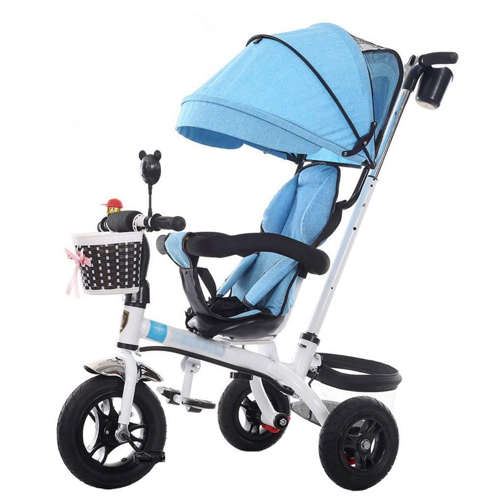 Bicicletta da Triciclo per passeggini Unica per Bambini di 1-6 Anni Carrello per Bambini   Frizione   Imbracature di Sicurezza   Freni   Grande Cesto portaoggetti (Blu)