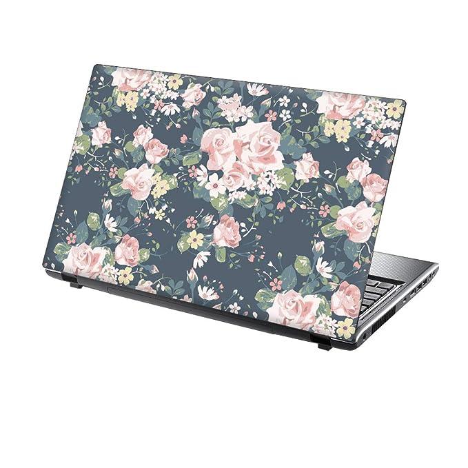 TaylorHe Folie Sticker Skin Vinyl Aufkleber mit bunten Mustern für 13-14 Zoll (34cm x 23,5cm) Laptop Skin rosa Blumen