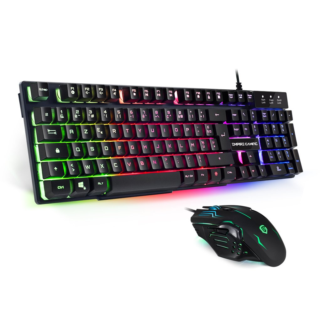 EMPIRE GAMING - Pack clavier et souris Gamer Empire K800 - Clavier RGB touches semi-mécaniques /Souris Gamer ambidextre 6 boutons 2400 DPI product image