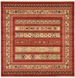 Unique Loom Fars Collection Tribal Modern Casual Rust Red Square Rug (8' x 8')