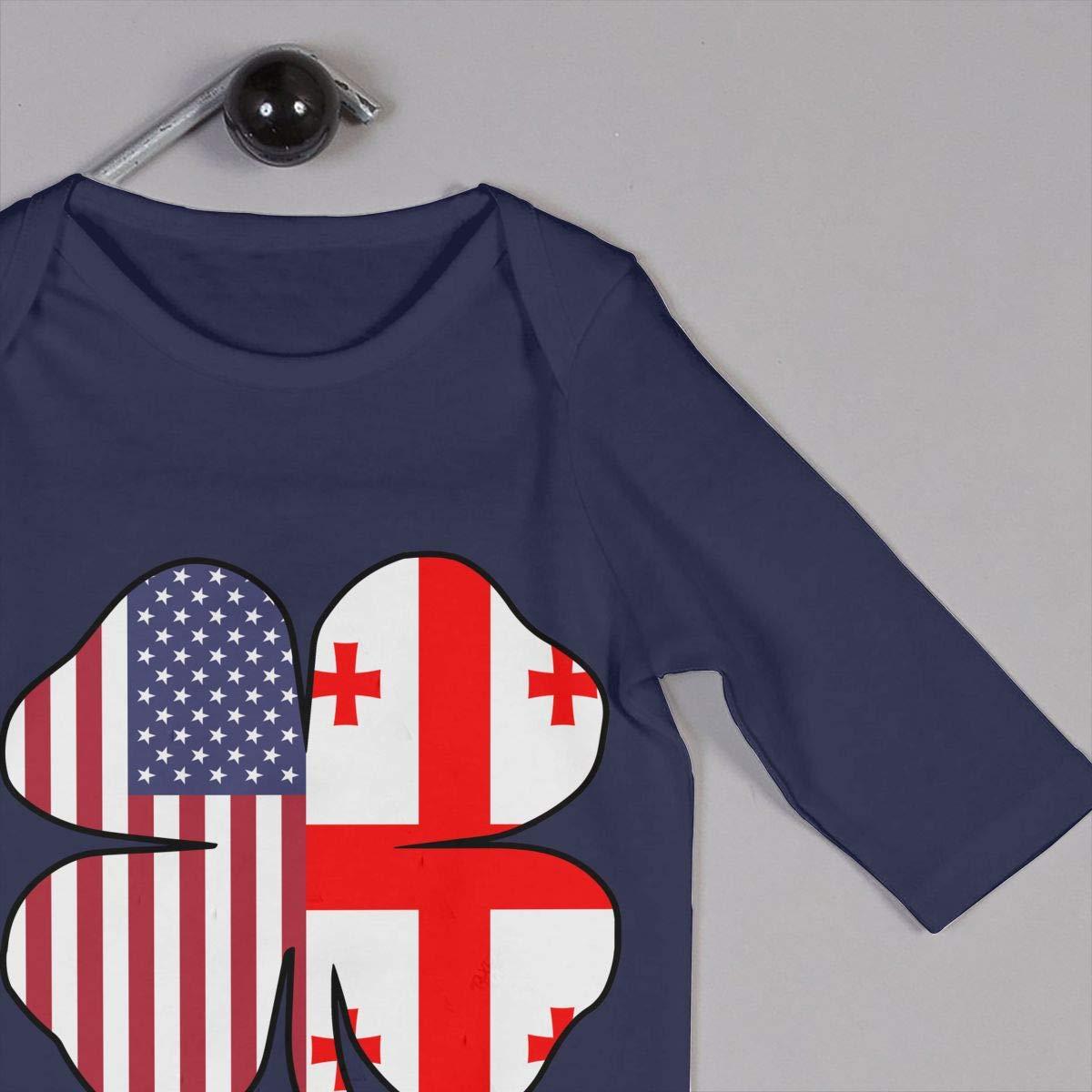 Newborn Baby Long Sleeved Coveralls American Georgia Flag Shamrock Kid Pajamas