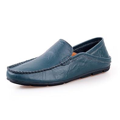 Shenn Herren Mode Schlüpfen Mokassins Beiläufig Leder Halbschuhe Schuhe 20138 (Schwarz,EU43)