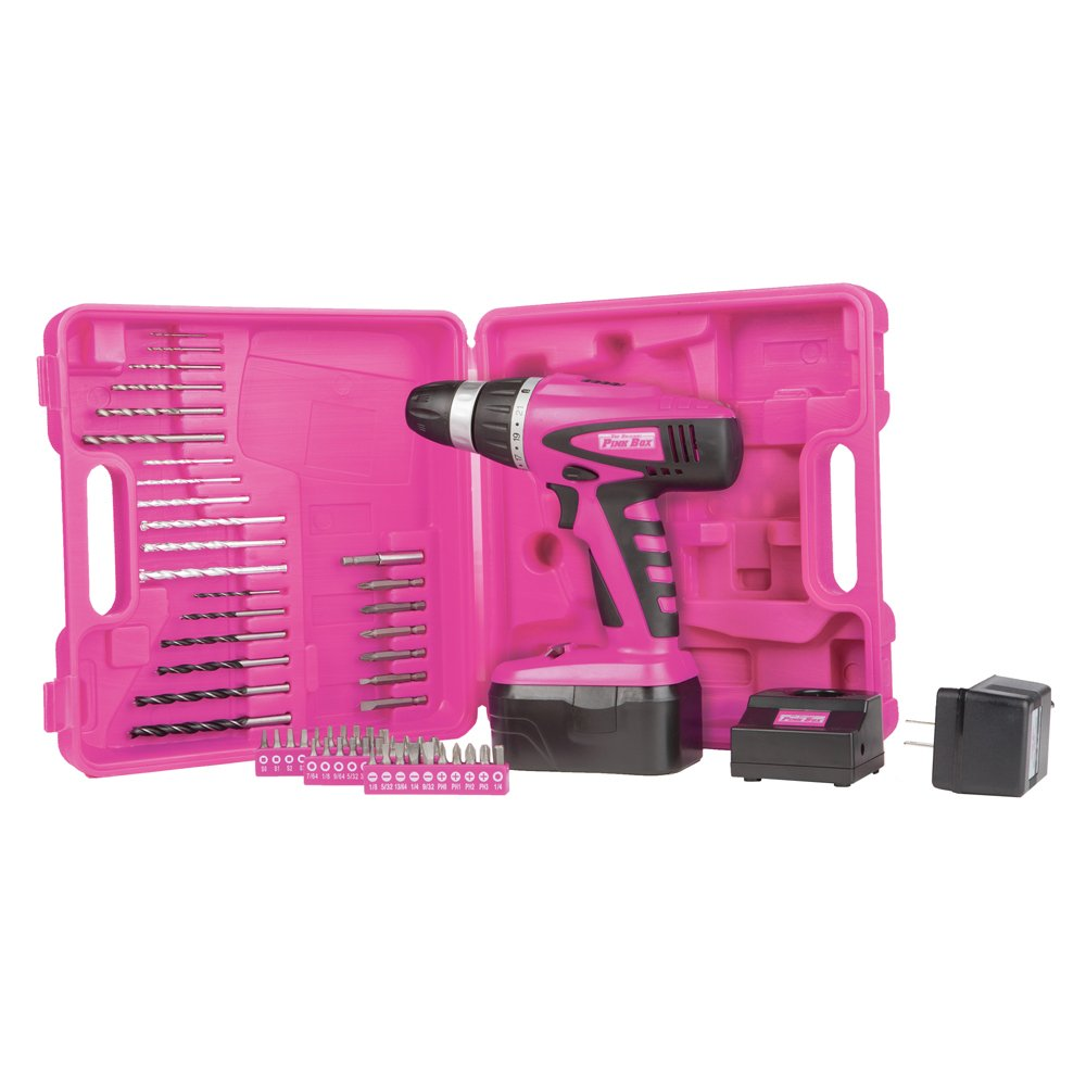 The Original Pink Box PB18VNIC Pink 18V Cordless NiCad Drill with Battery, Charger, Bits, and Storage Case