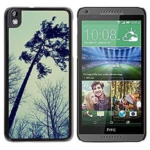 FECELL CITY // Duro Aluminio Pegatina PC Caso decorativo Funda Carcasa de Protección para HTC DESIRE 816 // Autumn Somber Forest Sky Dark