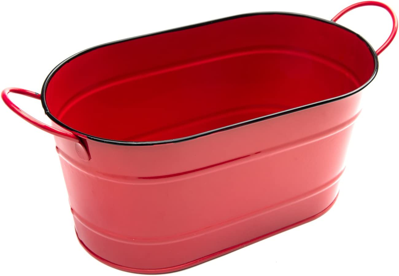 Nantucket Seafood Red Serving Tub Ice Bucket, 5.25 x 11 x 4.5 inches