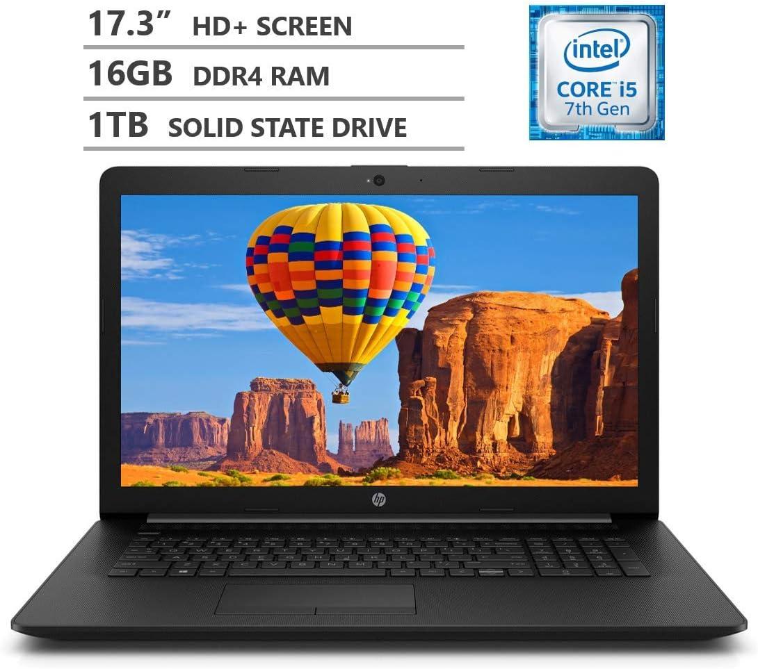 "HP Premium 17.3"" WLED-Backlit HD+ Screen Laptop, Intel Core i5-7200U Dual-Core Processor Up to 3.10 GHz, 16GB Memory, 1TB Solid State Drive, HDMI, 802.11b/g/n, Bluetooth 4.2, Windows 10 Home, Black"