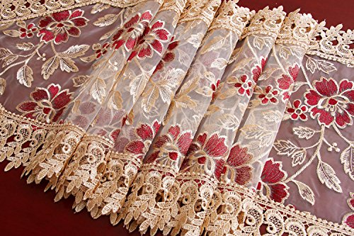 Beige Burgundy Lace Table Runners And Scarves 16 X 72