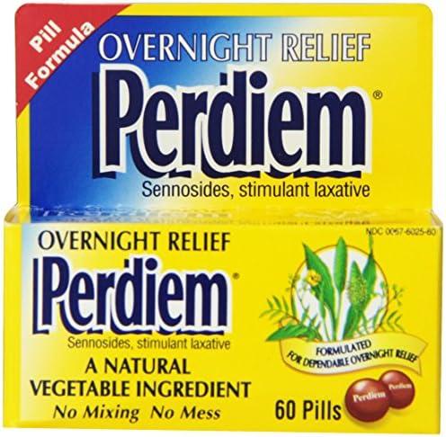 Perdiem Sennosides Stimulant Laxative Pills, Overnight Relief, 60-Count Bottles (Pack of 2)