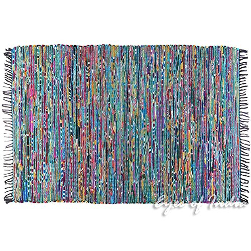 EYES OF INDIA - 4 X 6 ft Colorful Woven Chindi Braided Area Decorative Rag Rug Indian Bohemian