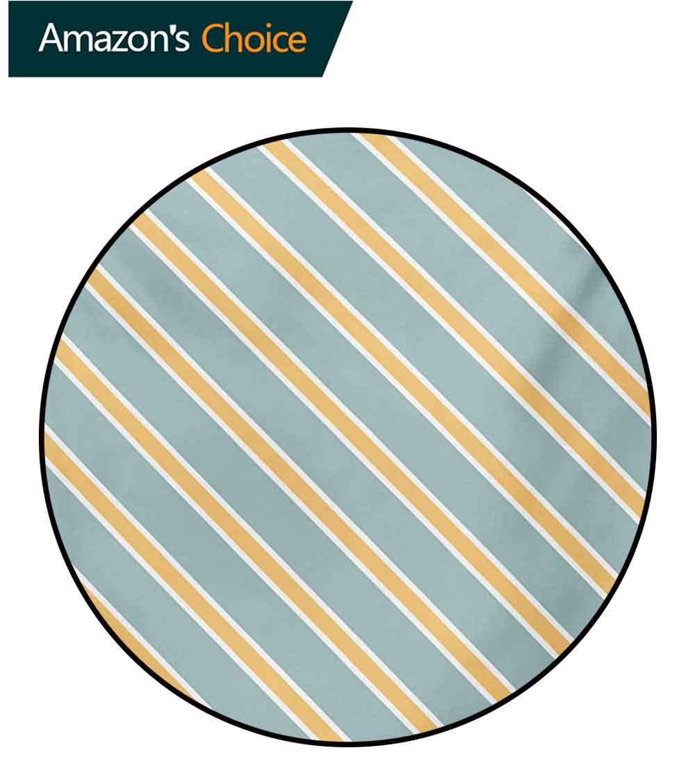 Shabby Chic Non-Slip Area Rug Pad Round,Nostalgic Diagonal Bold And Thin Stripes Geometric Simplistic Protect Floors While Securing Rug Making Vacuuming,Diameter-71 Inch Almond Green Apricot Cream