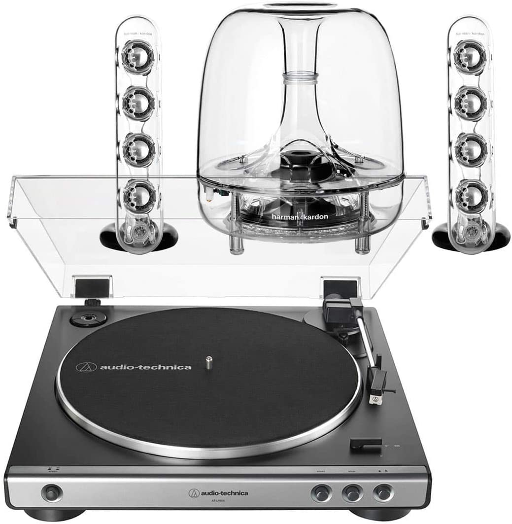 AudioTechnica AT-LP60XGM Fully Automatic Stereo 2-Speed Turntable System Silver with Harman Consumer SoundSticks III 2.1 Plug and Play Multimedia Speaker System