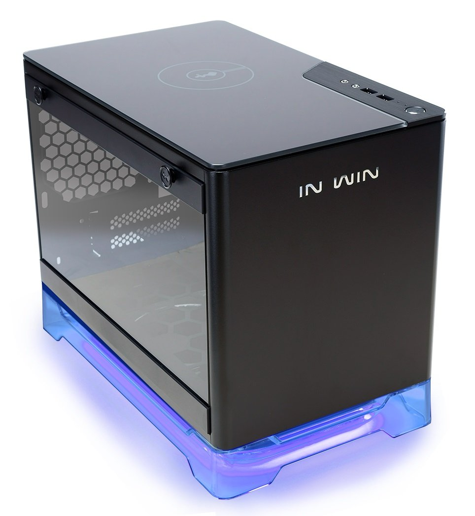 InWin A1 Black Mini-ITX Tower with Integrated RGB Lighting 600W Power Supply Qi Wireless Phone Charger Computer Chassis Cases