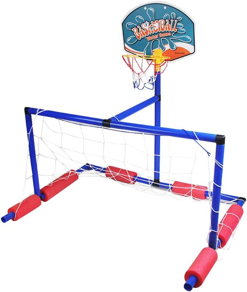 STOBOK Juego de Piscina Juguete Portátil Desmontable Portería de Fútbol Net Baloncesto Aro Estante Juego de Natación Juguete para Fiesta de Agua Piscina