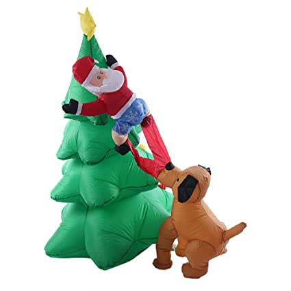 Amazon.com: 6 Foot Giant Inflatable Christmas Tree Puppy ...