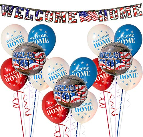 Party City Military Welcome Home Decorating Supplies, Include a Letter Banner, 12 Latex Balloons, and 3 Foil Balloons
