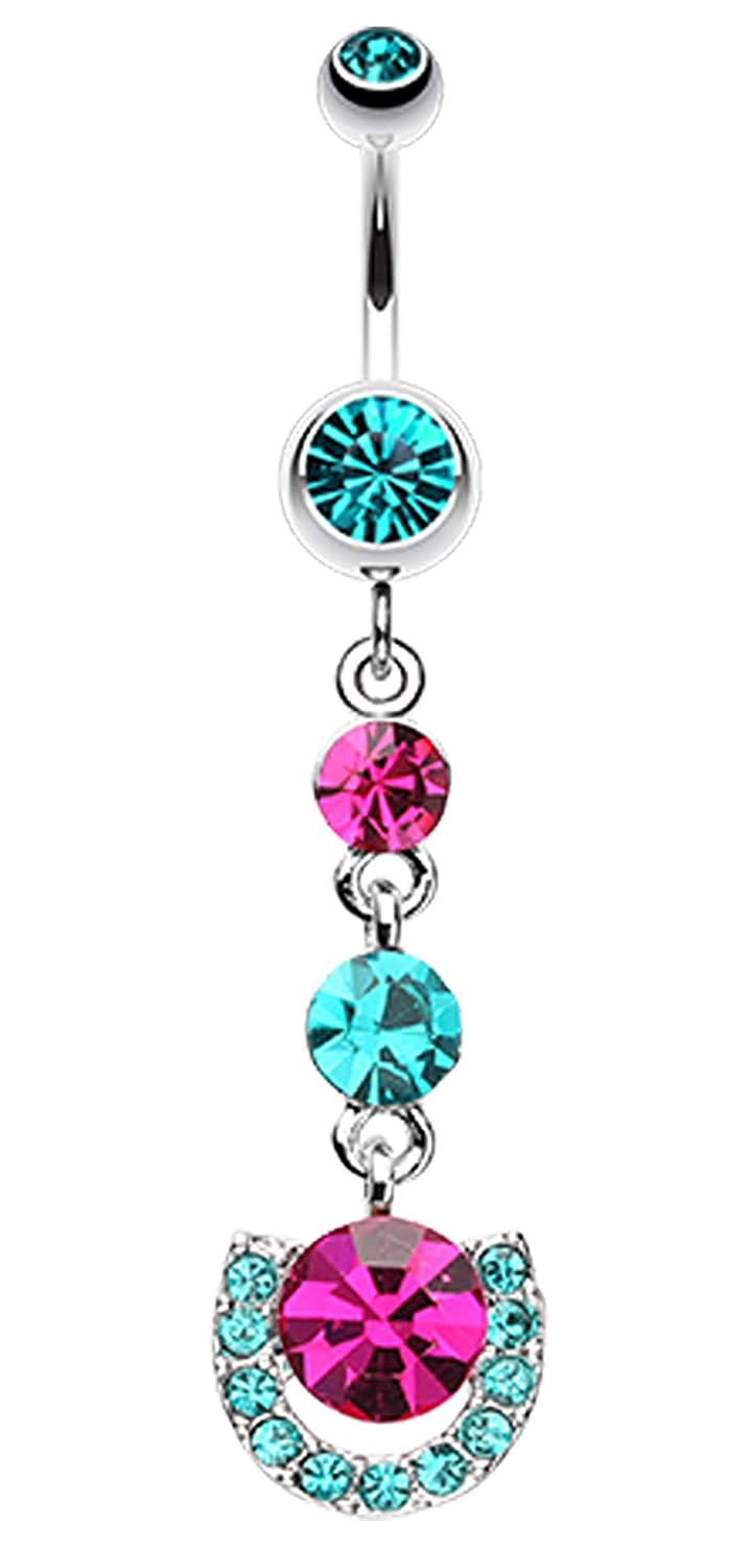 - Sold Individually 14 GA Vivacious Crystals Belly Button Ring 1.6mm