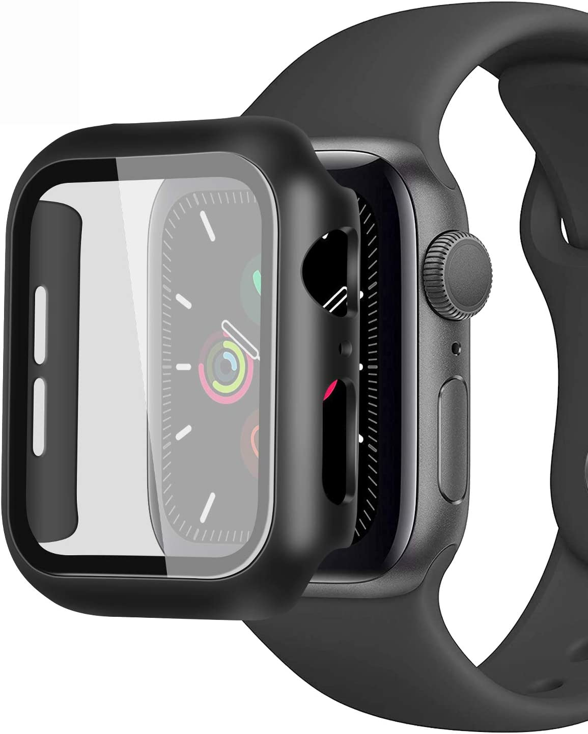 GGOOIG Compatible with Apple Watch SE Series 6/5/4 44mm Case with Screen Protector, 2-Pack Tempered Glass Hard PC Case Slim Full Screen Protective Bumper Cover for iWatch 44mm (Black+Black)