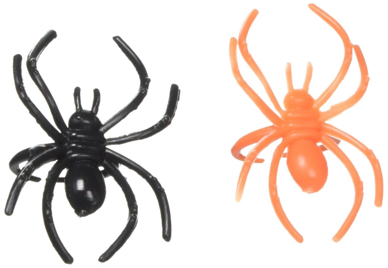 Boao 120 Pieces Spider Rings Plastic Cupcake Topper Halloween Party Favors