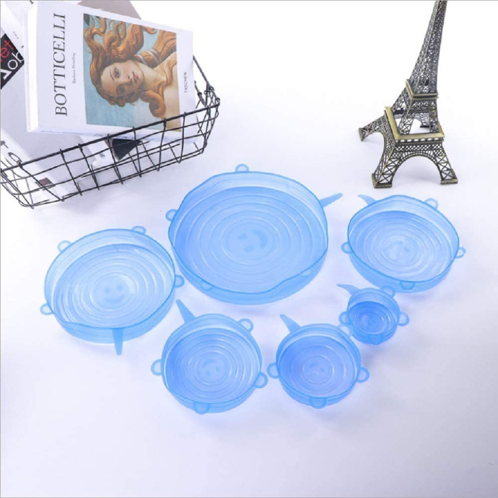 Silicone Stretch Lids 6PCS Various Sizes Bowls Covers Reusable Rubber for Food Stayfresh Savers Stretchy Wrap Lid fit Universal Container Bowl Cup Pot (6)